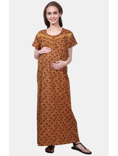 Mee Mee Brown Printed Maternity Gown