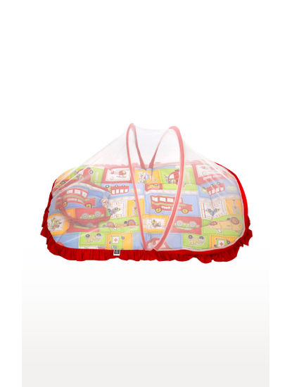 Mee Mee Baby Mattress Set with Mosquito Net & Pillow– (Red)