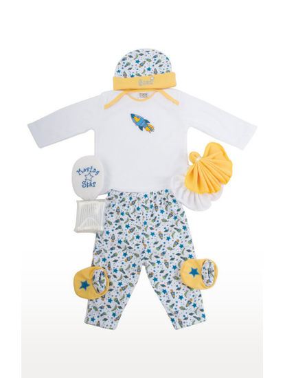 White and Yellow Printed Gift Set