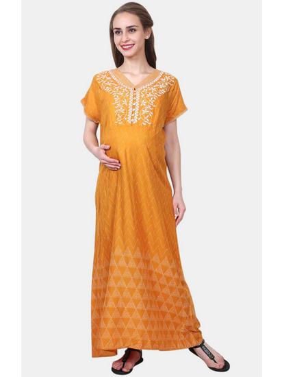 Mee Mee Mustard Printed Maternity Gown