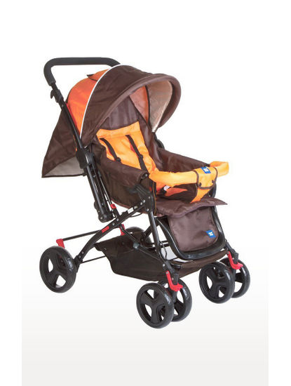 Orange & Brown Baby Pram with Soft Cushioned Seat and Full Leg Cover and Canopy