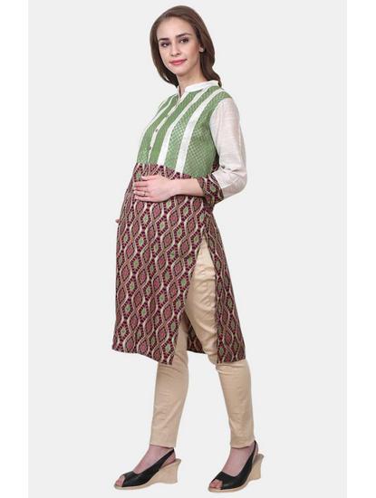 Mee Mee Green Printed Maternity Kurti