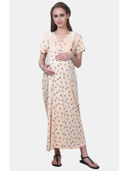 Mee Mee Peach Printed Maternity Gown