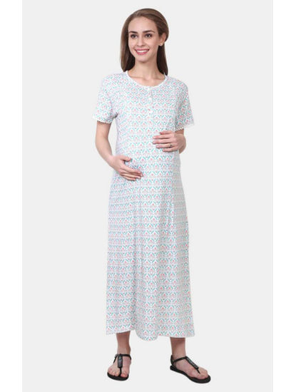 Mee Mee White and Green Printed Maternity Gown