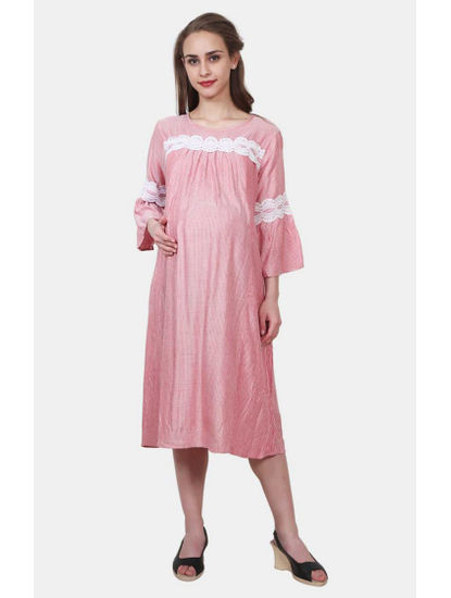 Mee Mee Red Striped Maternity Dress