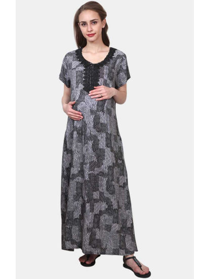 Mee Mee Black and Grey Printed Maternity Gown