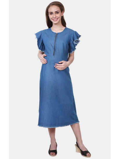 Mee Mee Blue Solid Maternity Dress