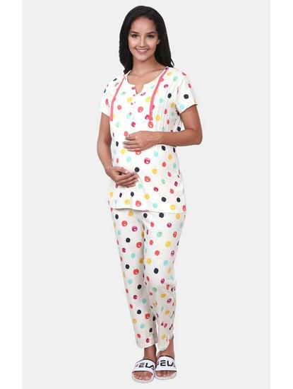 Mee Mee Off White Printed Maternity Nightsuit