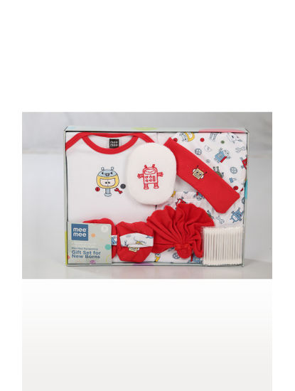 White and Red Printed Gift Set