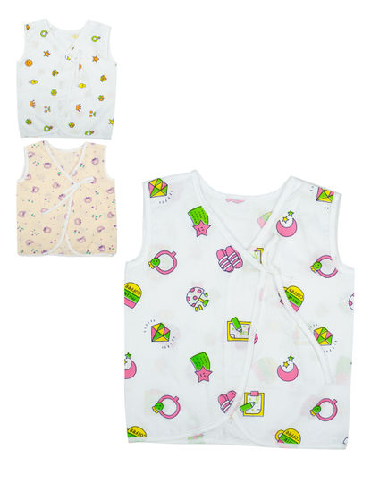 Mee Mee Cotton Sleeveless Jabla Pack Of 3 ? Front Open