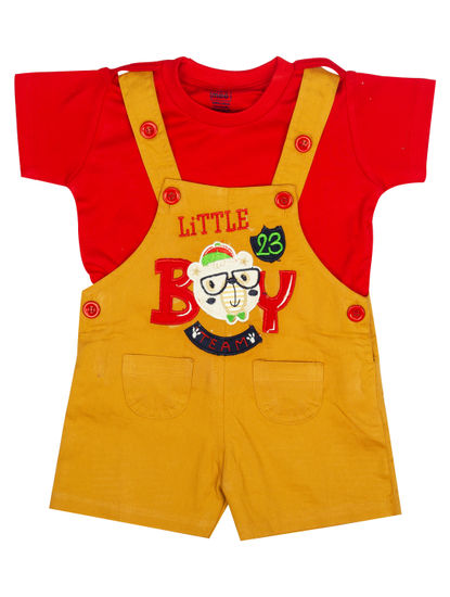 Mee Mee Short Sleeve Tee Little Boy Print Dungaree Set