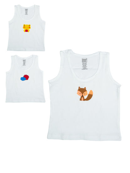 Mee Mee Kids White Vests With Print ? Pack Of 3