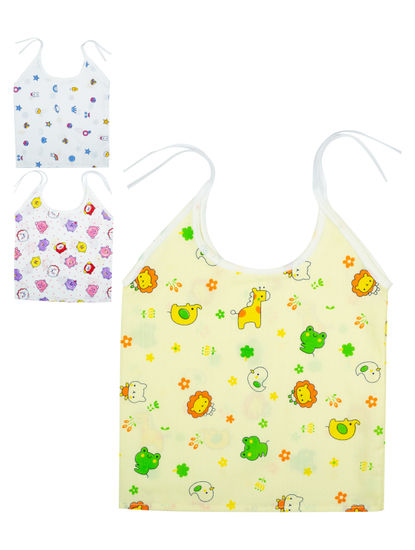 Mee Mee Cotton Sleeveless Jabla Pack Of 3 ? Shoulder Tie-Up