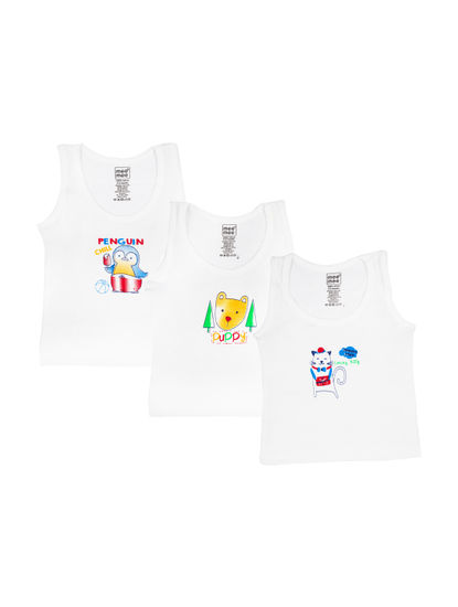 Mee Mee Boys Vests, White (Pack Of 3)