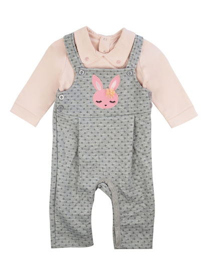 Mee Mee Full Sleeve Girls Dungree Set (Grey, Pink)