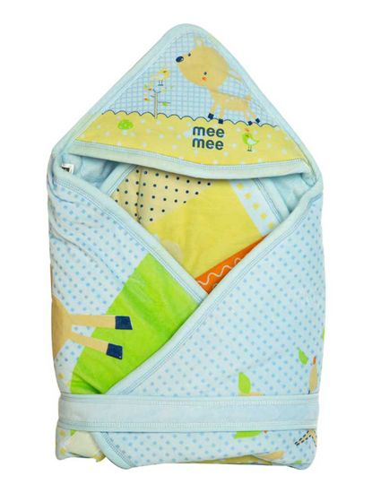 Mee Mee Baby Wrapper Blanket with Hood – Blue