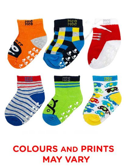 Mee Mee Cozy Feet Anti-Skid Baby Socks (Pack of 6) (Colours May Vary)