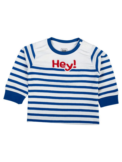 Mee Mee Boys Full Sleeve Blue Striper T-shirt With Giraffe Applique Dungree Set