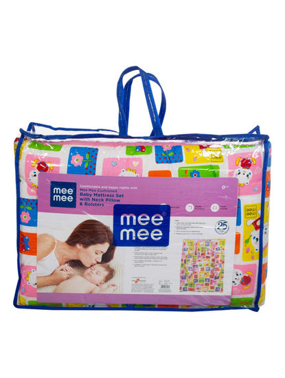 Mee Mee Cushioned Baby Mattress Set with Neck Pillow & Bolsters