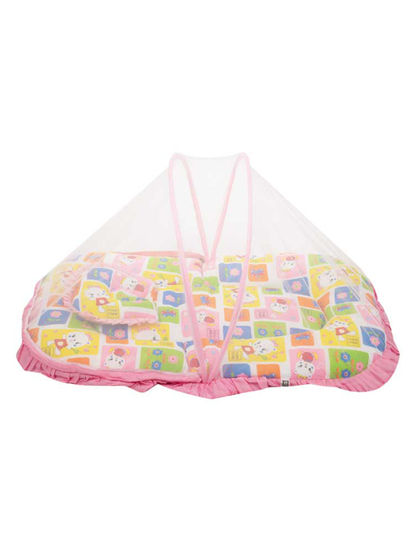 Mee Mee Baby Mattress Set with Mosquito Net & Pillow– (Pink)