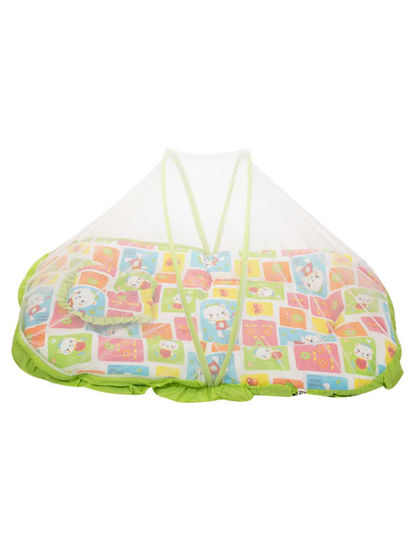 Mee Mee Baby Mattress Set with Mosquito Net & Pillow– (Green)
