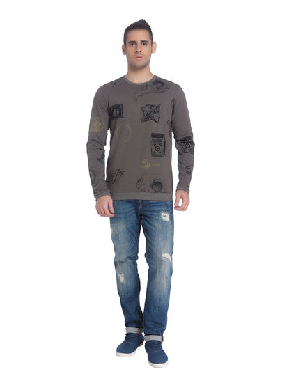 Dark Grey All Over Print Sweatshirt