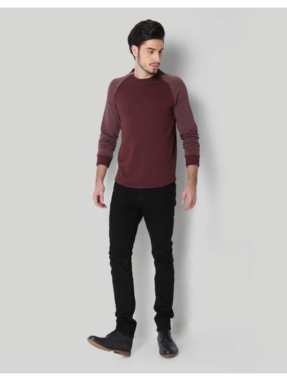 Red Colourblocked Sweatshirt