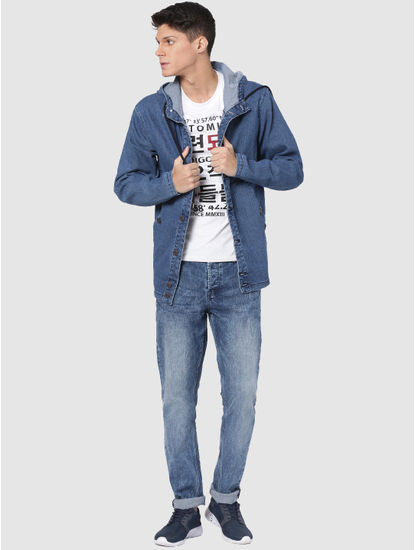 Blue Hooded Denim Jacket