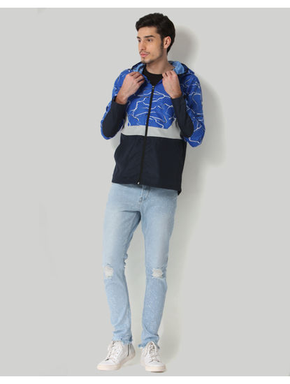 Blue Colourblocked Hooded Jacket
