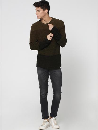 Dark Green Colourblocked Pullover