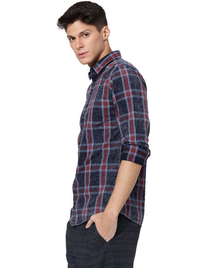 Red Check Washed Full Sleeves Shirt