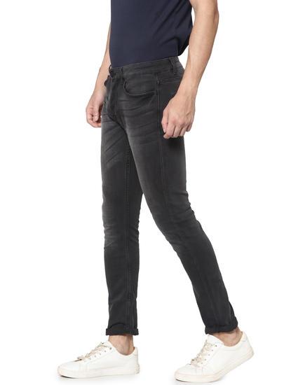 Dark Grey Washed Loom Slim Fit Jeans