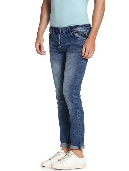 Blue Faded Loom Slim Fit Jeans