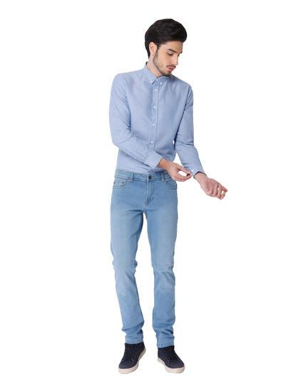 Light Blue Printed Full Sleeves Shirt