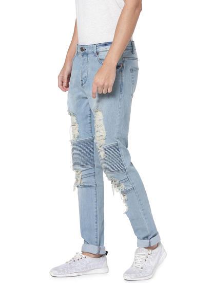 Light Blue Ripped Spun Slim Fit Jeans