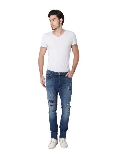 Blue Ripped Patch Detail Spun Slim Fit Jeans