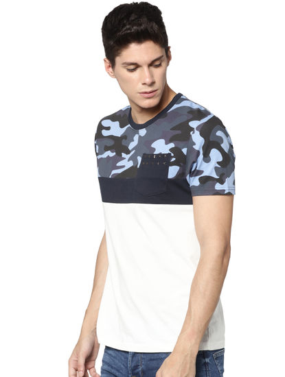 White Camo Print Crew Neck T-shirt
