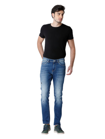 Blue Distressed Loom Slim Fit Jeans