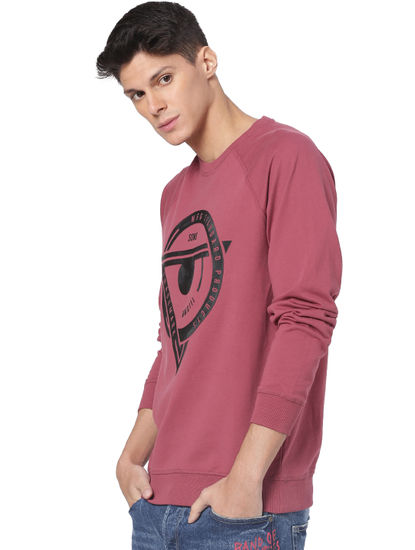Maroon Printed Faded Sweatshirt