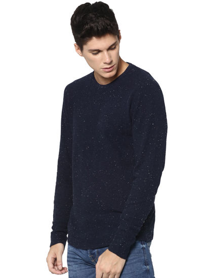 Navy Blue Printed Pullover
