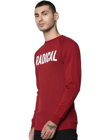 Red Text Print Sweatshirt
