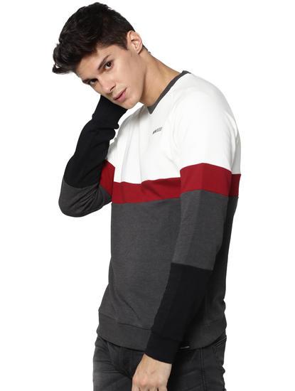 White Colour Blocked Sweatshirt