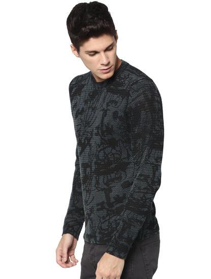 Dark Blue Printed Pullover