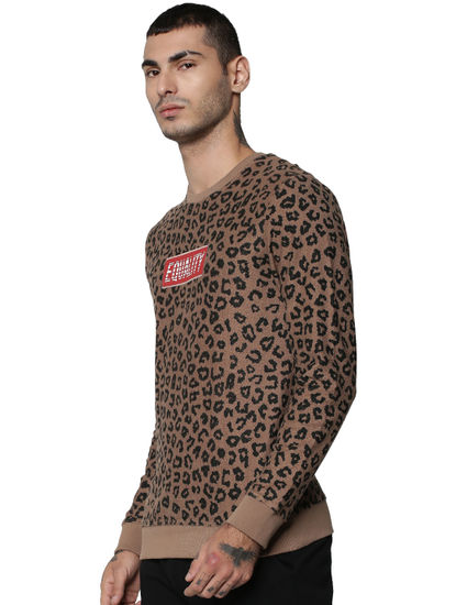 Brown Animal Print Pullover
