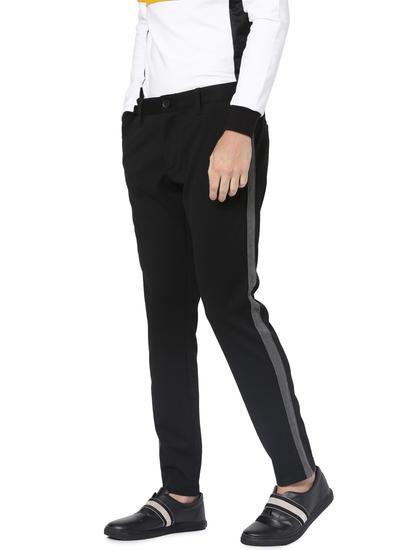 Black Tape Detail Pants