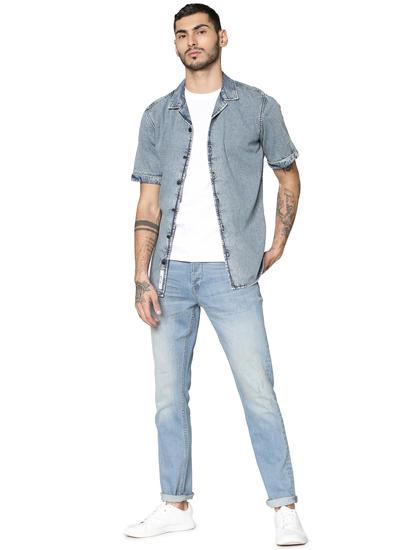 Blue Denim Short Sleeves Shirt