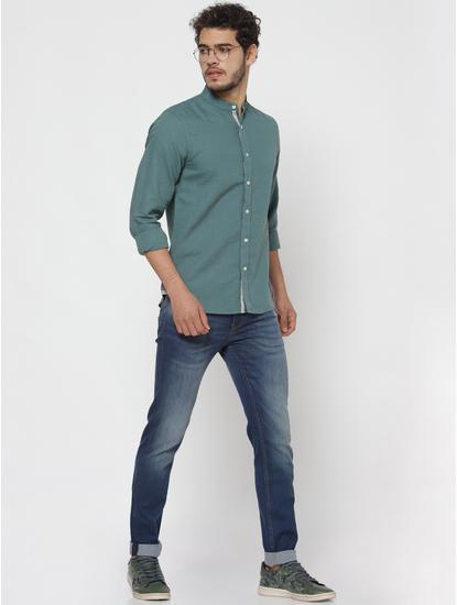Teal Full Sleeves Linen Shirt