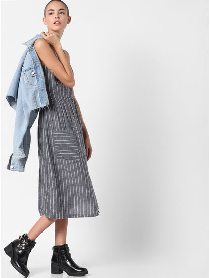 Grey Striped Button Down Midi Dress