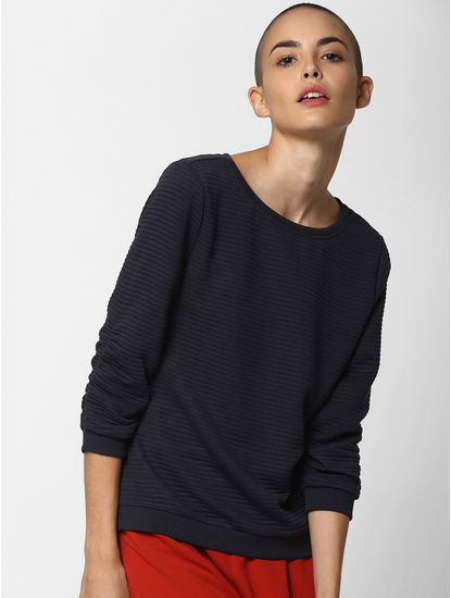 Dark Blue Ribbed Sweatshirt