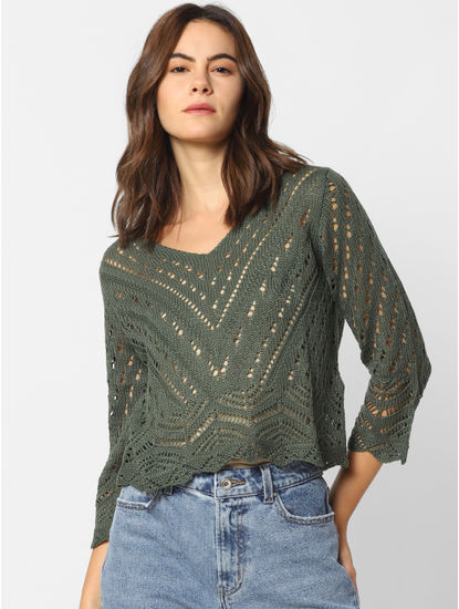 Olive Green Crochet Cropped Pullover